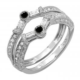 0.55 Carat (ctw) 18k White Gold Round & Baguette White & Black Diamond Ladies Anniversary Wedding Enhancer Guard Band 1/2 CT
