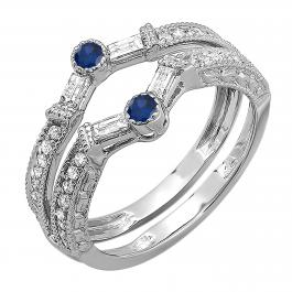 0.55 Carat (ctw) 18k White Gold Round & Baguette White Diamond & Blue Sapphire Ladies Anniversary Wedding Enhancer Guard Band 1/2 CT