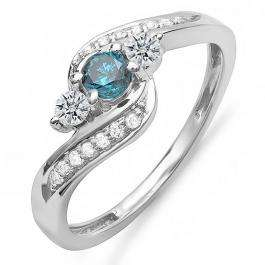 0.50 Carat (ctw) 10k White Gold Round Blue And White Diamond Ladies Swirl Engagement 3 Stone Bridal Ring