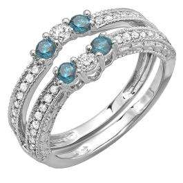 0.60 Carat (ctw) 10k White Gold Round Blue And White Diamond Ladies Anniversary Wedding Band Enhancer Guard