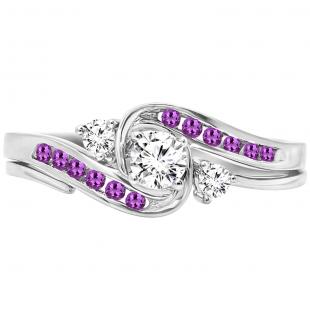 0.50 Carat (ctw) 14k White Gold Round Amethyst And White Diamond Ladies Swirl Bridal Engagement Ring Matching Band Set