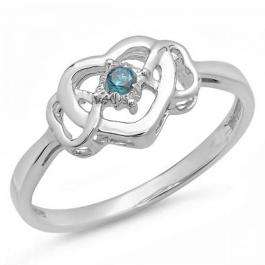0.05 Carat (ctw) Sterling Silver Round Blue Diamond Ladies Solitaire Promise Three Heart Infinity Love Engagement Ring
