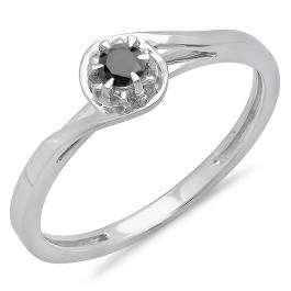 0.12 Carat (ctw) 10K White Gold Round Cut Black Diamond Ladies Twisted Style Solitaire Bridal Promise Ring