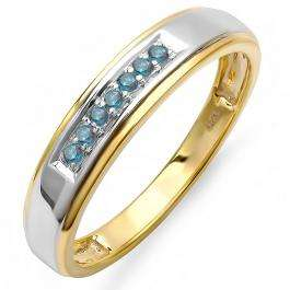 0.12 Carat (ctw) 18K Yellow Gold Plated Sterling Silver Round Blue Diamond Men's Seven Stone Wedding Band