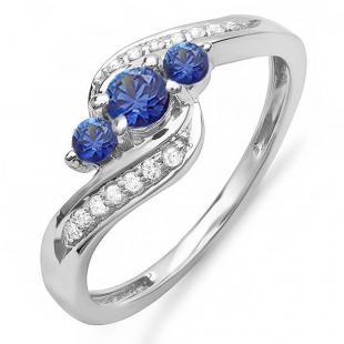 0.75 Carat (ctw) 18k White Gold Round Blue Sapphire And White Diamond Ladies Swirl Engagement 3 Stone Bridal Ring 3/4 CT