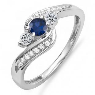 1.00 Carat (ctw) 14k White Gold Round Blue Sapphire And White Diamond Ladies Swirl Engagement 3 Stone Bridal Ring 1 CT