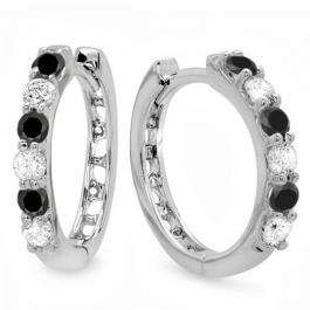 0.33 Carat (ctw) 10k White Gold Round Black & White Diamond Ladies Huggies Hoop Earrings 1/3 CT