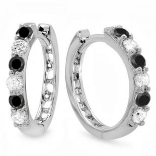 0.33 Carat (ctw) 14k White Gold Round Black & White Diamond Ladies Huggies Hoop Earrings 1/3 CT