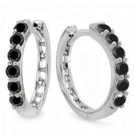 0.33 Carat (ctw) 10k White Gold Round Black Diamond Ladies Huggies Hoop Earrings 1/3 CT