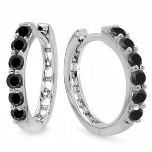0.33 Carat (ctw) 18k White Gold Round Black Diamond Ladies Huggies Hoop Earrings 1/3 CT