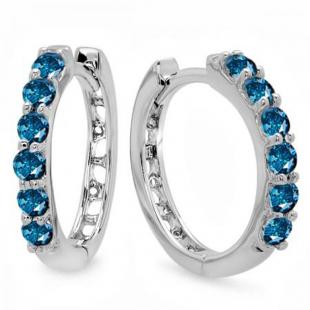 0.33 Carat (ctw) 10k White Gold Round Blue Diamond Ladies Huggies Hoop Earrings 1/3 CT