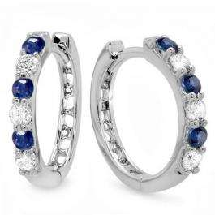 0.33 Carat (ctw) 10k White Gold Round Blue Sapphire & White Diamond Ladies Huggies Hoop Earrings 1/3 CT