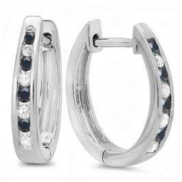 0.20 Carat (ctw) 18K White Gold Round White And Black Diamond Ladies Hoop Earrings 1/5 CT
