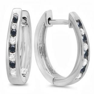 0.20 Carat (ctw) 10K White Gold Round White And Black Diamond Ladies Hoop Earrings 1/5 CT