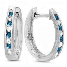 0.20 Carat (ctw) 10K White Gold Round White And Blue Diamond Ladies Hoop Earrings 1/5 CT