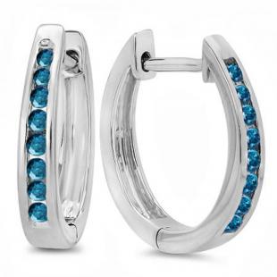 0.20 Carat (ctw) 18K White Gold Round Blue Diamond Ladies Hoop Earrings 1/5 CT