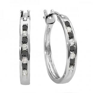 0.20 Carat (ctw) 14K White Gold Round White And Black Diamond Ladies Fine Hoop Earrings 1/5 CT
