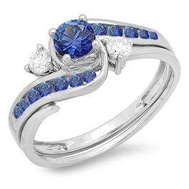 0.90 Carat (ctw) 10k White Gold Round Blue Sapphire And White Diamond Ladies Swirl Bridal Engagement Ring Matching Band Set