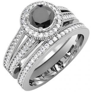 1.25 Carat (ctw) 18k White Gold Round White And Black Diamond Ladies Split Shank Halo Style Bridal Engagement Ring Set With Matching Band 1 1/4 CT