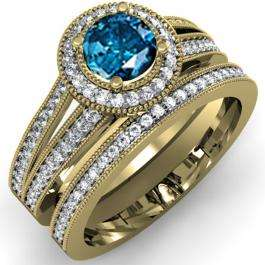 1.25 Carat (ctw) 10k Yellow Gold Round White And Blue Diamond Ladies Split Shank Halo Style Bridal Engagement Ring Set With Matching Band 1 1/4 CT