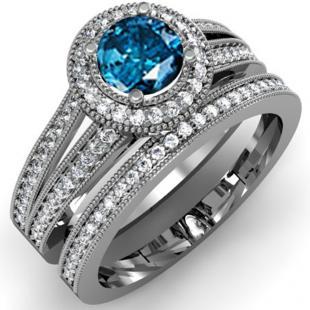 1.25 Carat (ctw) 18k White Gold Round White And Blue Diamond Ladies Split Shank Halo Style Bridal Engagement Ring Set With Matching Band 1 1/4 CT