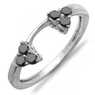 0.30 Carat (ctw) 14K White Gold Round Black Diamond Ladies Anniversary Wedding Ring Matching Guard Band 1/3 CT