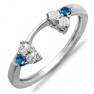 0.30 Carat (ctw) 10K White Gold Round White And Blue Diamond Ladies Anniversary Wedding Ring Matching Guard Band 1/3 CT