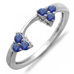 0.30 Carat (ctw) 14K White Gold Round Blue Sapphire Ladies Anniversary Wedding Ring Matching Guard Band 1/3 CT