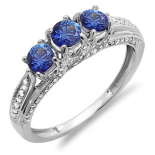 1.00 Carat (ctw) 18k White Gold Round White Diamond And Blue Sapphire Ladies Vintage Bridal 3 Stone Engagement Ring