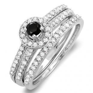 0.75 Carat (ctw) 18k White Gold Round Black & White Diamond Ladies Halo Bridal Engagement Ring Matching Band Set 3/4 CT