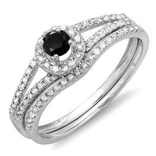 0.45 Carat (ctw) 18k White Gold Round Black And White Diamond Ladies Bridal Halo Style Engagement Ring With Wedding Band Set 1/2 CT