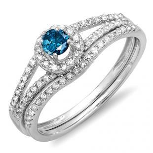 0.45 Carat (ctw) 18k White Gold Round Blue And White Diamond Ladies Bridal Halo Style Engagement Ring With Wedding Band Set 1/2 CT