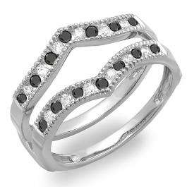 0.45 Carat (ctw) 10k White Gold Round White & Black Diamond Ladies Millgrain Anniversary Wedding Band Guard Double Ring 1/2 CT