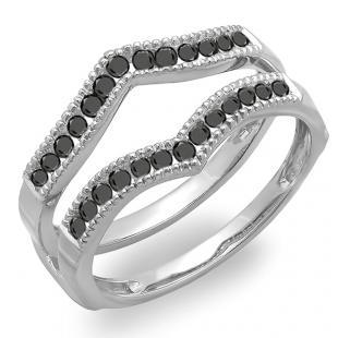 0.60 Carat (ctw) 14k White Gold Round Black Diamond Ladies Millgrain Anniversary Wedding Band Guard Double Ring