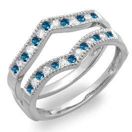 0.45 Carat (ctw) 10k White Gold Round White & Blue Diamond Ladies Millgrain Anniversary Wedding Band Guard Double Ring 1/2 CT