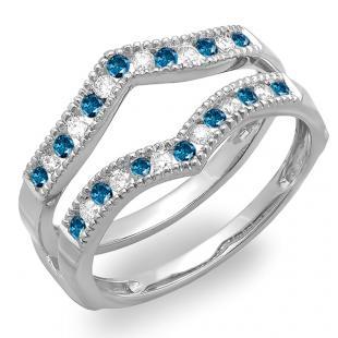 0.45 Carat (ctw) 18k White Gold Round White & Blue Diamond Ladies Millgrain Anniversary Wedding Band Guard Double Ring 1/2 CT