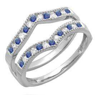 0.45 Carat (ctw) 18k White Gold Round White Diamond & Blue Sapphire Ladies Millgrain Anniversary Wedding Band Guard Double Ring 1/2 CT