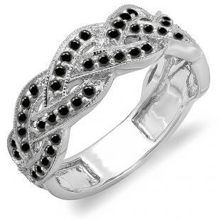 0.58 Carat (ctw) 10k White Gold Round Black Diamond Ladies Anniversary Wedding Matching Band Stackable Swirl Ring 1/2 CT