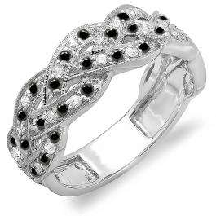 0.58 Carat (ctw) 18k White Gold Round White & Black Diamond Ladies Anniversary Wedding Matching Band Stackable Swirl Ring 1/2 CT