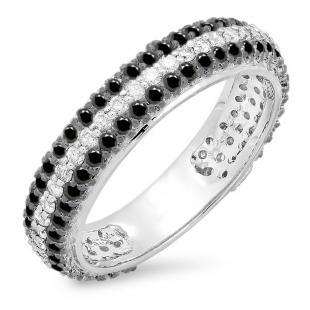 1.30 Carat (ctw) 10K White Gold Round White & Black Diamond Ladies Pave Set Anniversary Wedding Eternity Ring Band 1 1/3 CT