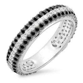 1.30 Carat (ctw) 14K White Gold Round White & Black Diamond Ladies Pave Set Anniversary Wedding Eternity Ring Band 1 1/3 CT