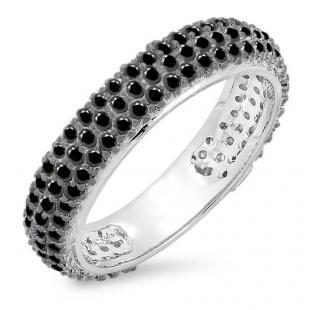 1.30 Carat (ctw) 10K White Gold Round Black Diamond Ladies Pave Set Anniversary Wedding Eternity Ring Band 1 1/3 CT