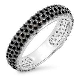 1.30 Carat (ctw) 14K White Gold Round Black Diamond Ladies Pave Set Anniversary Wedding Eternity Ring Band 1 1/3 CT
