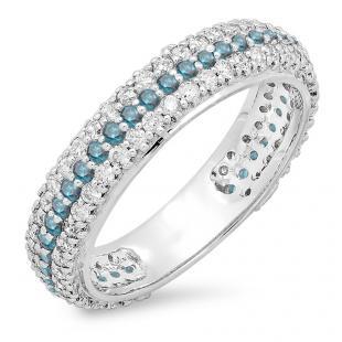 1.30 Carat (ctw) 14K White Gold Round White & Blue Diamond Ladies Pave Set Anniversary Wedding Eternity Ring Band 1 1/3 CT