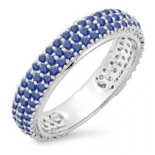 1.30 Carat (ctw) 18K White Gold Round Blue Sapphire Ladies Pave Set Anniversary Wedding Eternity Ring Band 1 1/3 CT