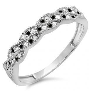 0.25 Carat (ctw) 10k White Gold Round White & Black Diamond Ladies Anniversary Wedding Stackable Band Swirl Ring 1/4 CT