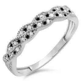 0.25 Carat (ctw) 14k White Gold Round White & Black Diamond Ladies Anniversary Wedding Stackable Band Swirl Ring 1/4 CT