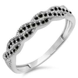 0.25 Carat (ctw) 10k White Gold Round Black Diamond Ladies Anniversary Wedding Stackable Band Swirl Ring 1/4 CT