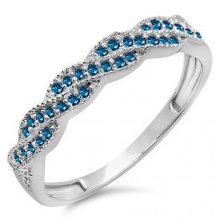 0.25 Carat (ctw) 10k White Gold Round Blue Diamond Ladies Anniversary Wedding Stackable Band Swirl Ring 1/4 CT