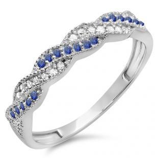 0.25 Carat (ctw) 18k White Gold Round White Diamond & Blue Sapphire Ladies Anniversary Wedding Stackable Band Swirl Ring 1/4 CT